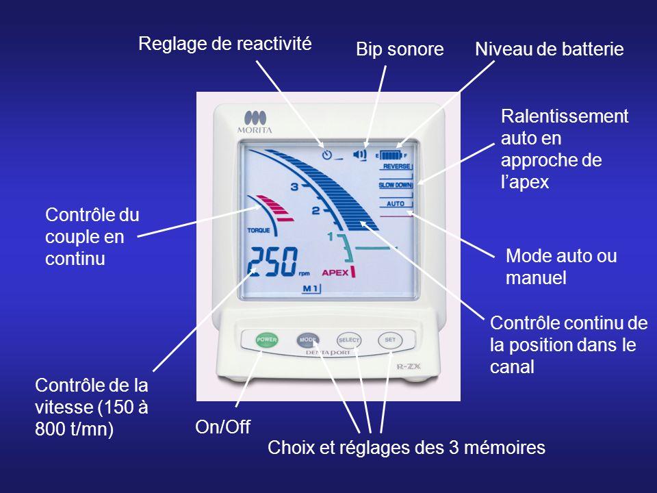 Niveau de batterie Ralentissement auto en approche de lapex Mode auto ou manuel Contrôle de la vitesse (150 à 800 t/mn) Contrôle du couple en continu Bip sonore Reglage de reactivité Choix et réglages des 3 mémoires On/Off Contrôle continu de la position dans le canal
