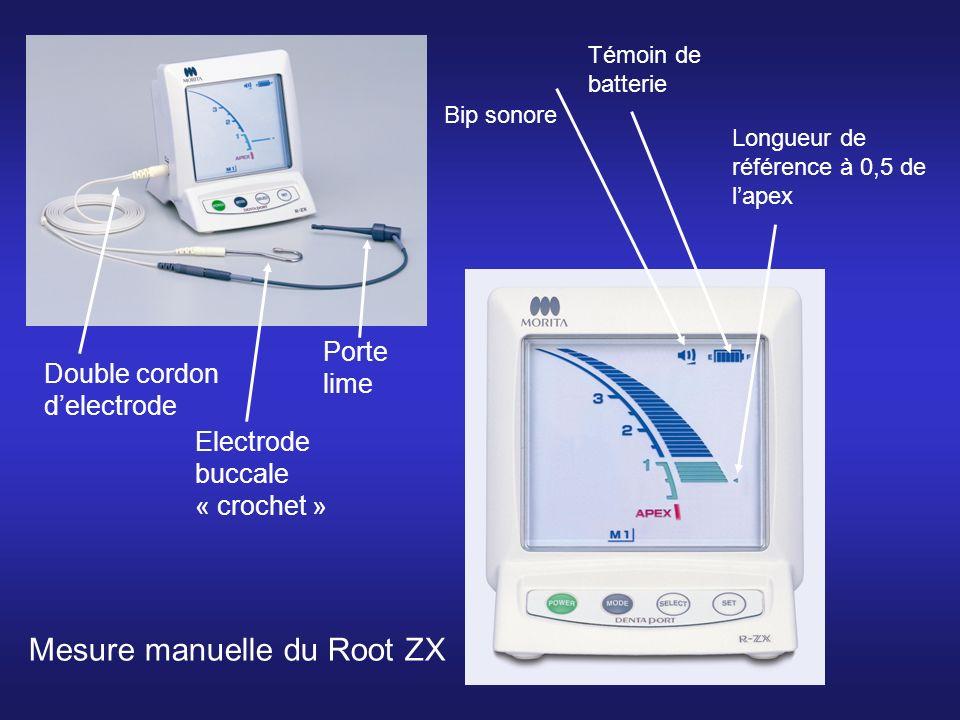 Mesure manuelle du Root ZX Bip sonore Témoin de batterie Longueur de référence à 0,5 de lapex Double cordon delectrode Electrode buccale « crochet » Porte lime