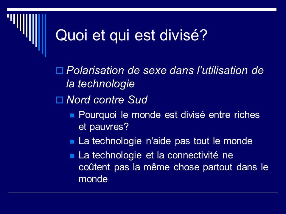 Quoi et qui est divisé? Polarisation de sexe dans lutilisation de la technologie Nord contre Sud Pourquoi le monde est divisé entre riches et pauvres?