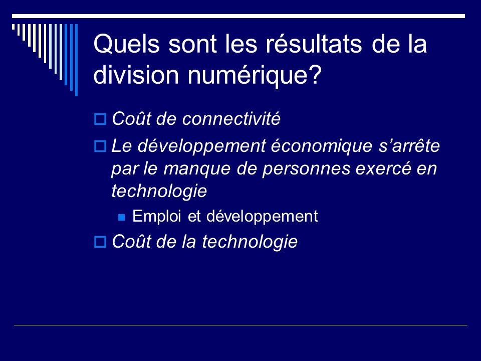 Quels sont les résultats de la division numérique? Coût de connectivité Le développement économique sarrête par le manque de personnes exercé en techn
