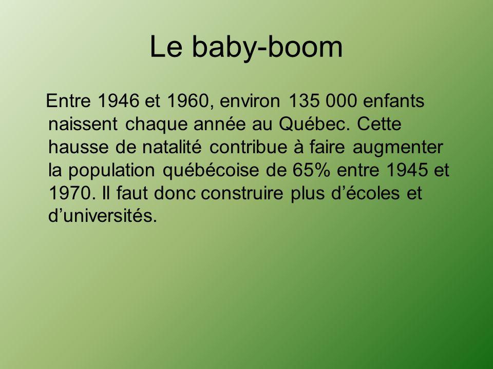 Le baby-boom Entre 1946 et 1960, environ 135 000 enfants naissent chaque année au Québec. Cette hausse de natalité contribue à faire augmenter la popu
