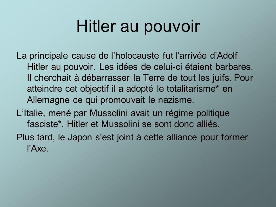 Hitler au pouvoir La principale cause de lholocauste fut larrivée dAdolf Hitler au pouvoir. Les idées de celui-ci étaient barbares. Il cherchait à déb