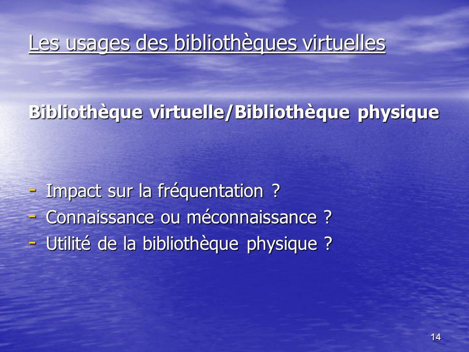 14 Les usages des bibliothèques virtuelles Bibliothèque virtuelle/Bibliothèque physique - Impact sur la fréquentation .