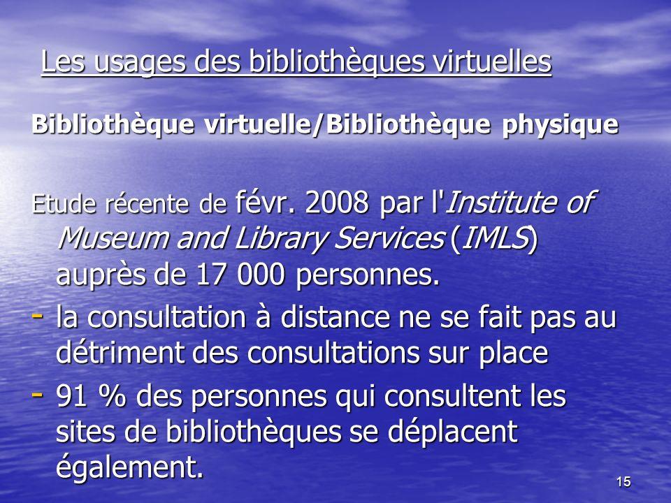 15 Les usages des bibliothèques virtuelles Bibliothèque virtuelle/Bibliothèque physique Etude récente de févr.