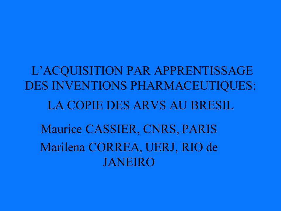 LACQUISITION PAR APPRENTISSAGE DES INVENTIONS PHARMACEUTIQUES: LA COPIE DES ARVS AU BRESIL Maurice CASSIER, CNRS, PARIS Marilena CORREA, UERJ, RIO de JANEIRO