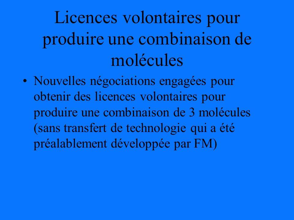 Licences volontaires pour produire une combinaison de molécules Nouvelles négociations engagées pour obtenir des licences volontaires pour produire une combinaison de 3 molécules (sans transfert de technologie qui a été préalablement développée par FM)