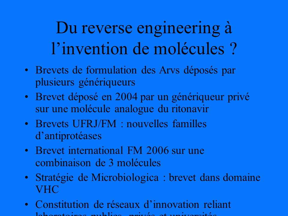 Du reverse engineering à linvention de molécules .