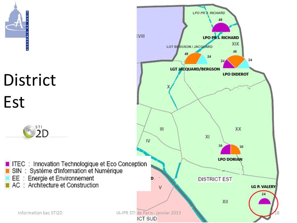 Information bac STI2DIA-IPR STI de Paris - janvier 2013 District Est 18