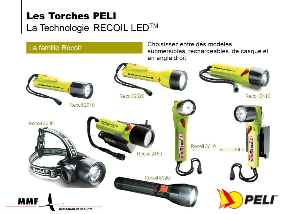 La famille Recoil: Choisissez entre des modèles submersibles, rechargeables, de casque et en angle droit.