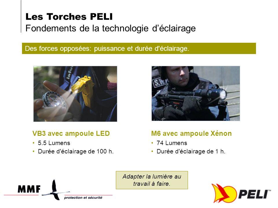 Les Torches PELI Fondements de la technologie déclairage Des forces opposées: puissance et durée d'éclairage. VB3 avec ampoule LED 5.5 Lumens Durée d'