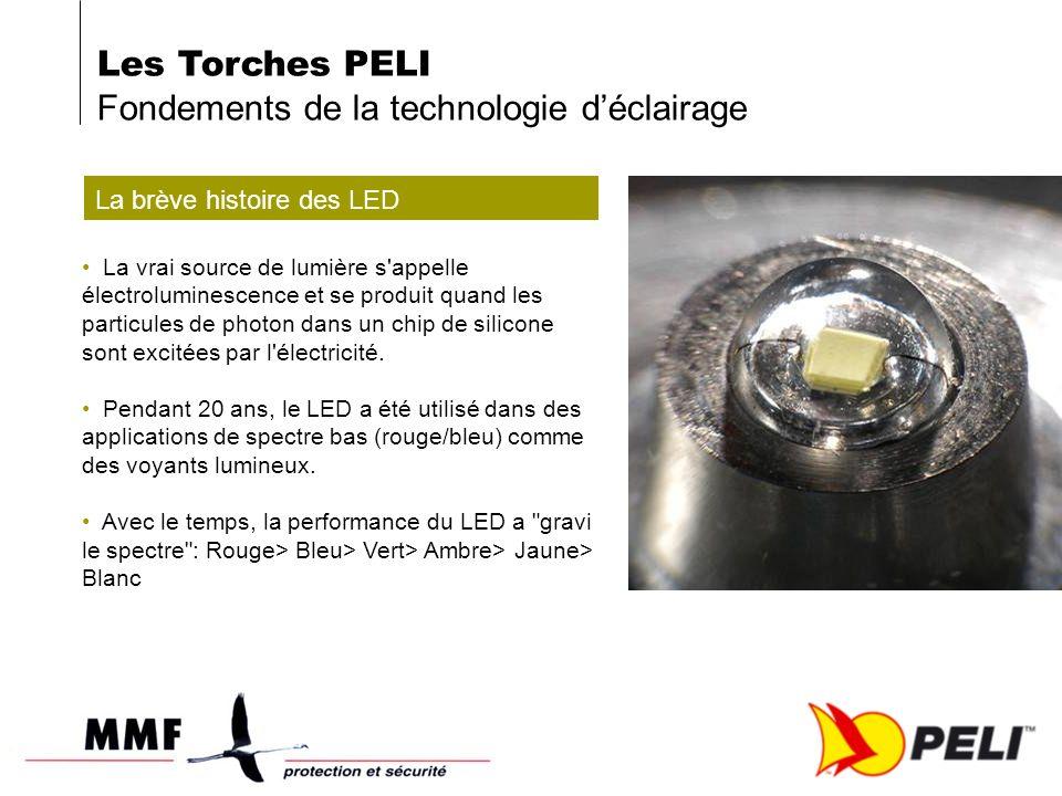 Les Torches PELI Fondements de la technologie déclairage La brève histoire des LED La vrai source de lumière s appelle électroluminescence et se produit quand les particules de photon dans un chip de silicone sont excitées par l électricité.