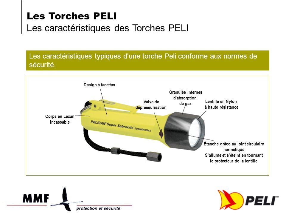 Les caractéristiques typiques d'une torche Peli conforme aux normes de sécurité. Design à facettes Corps en Lexan Incassable Valve de dépressurisation