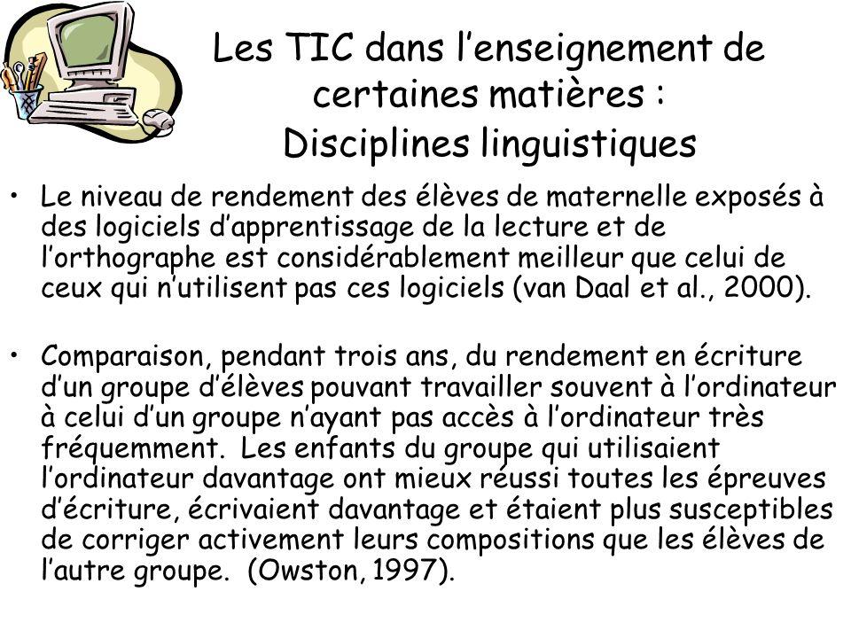 Les TIC dans lenseignement de certaines matières : Disciplines linguistiques Le niveau de rendement des élèves de maternelle exposés à des logiciels d