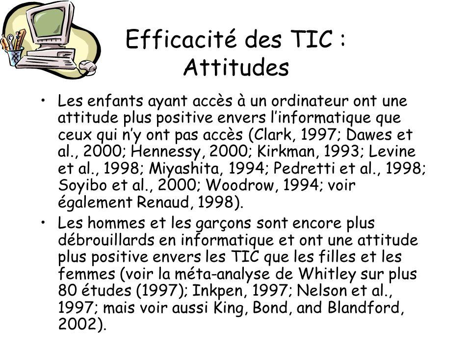Efficacité des TIC : Attitudes Les enfants ayant accès à un ordinateur ont une attitude plus positive envers linformatique que ceux qui ny ont pas acc