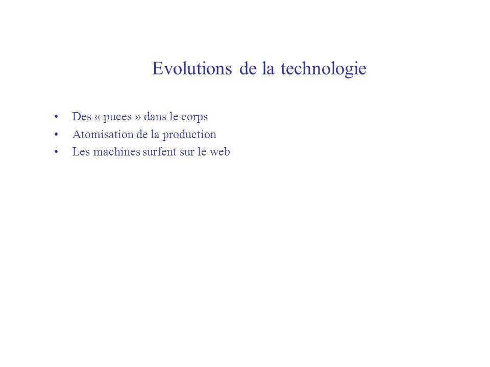 Evolutions de la technologie Des « puces » dans le corps Atomisation de la production Les machines surfent sur le web
