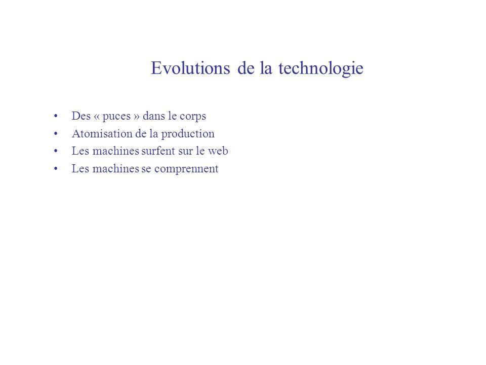 Evolutions de la technologie Des « puces » dans le corps Atomisation de la production Les machines surfent sur le web Les machines se comprennent