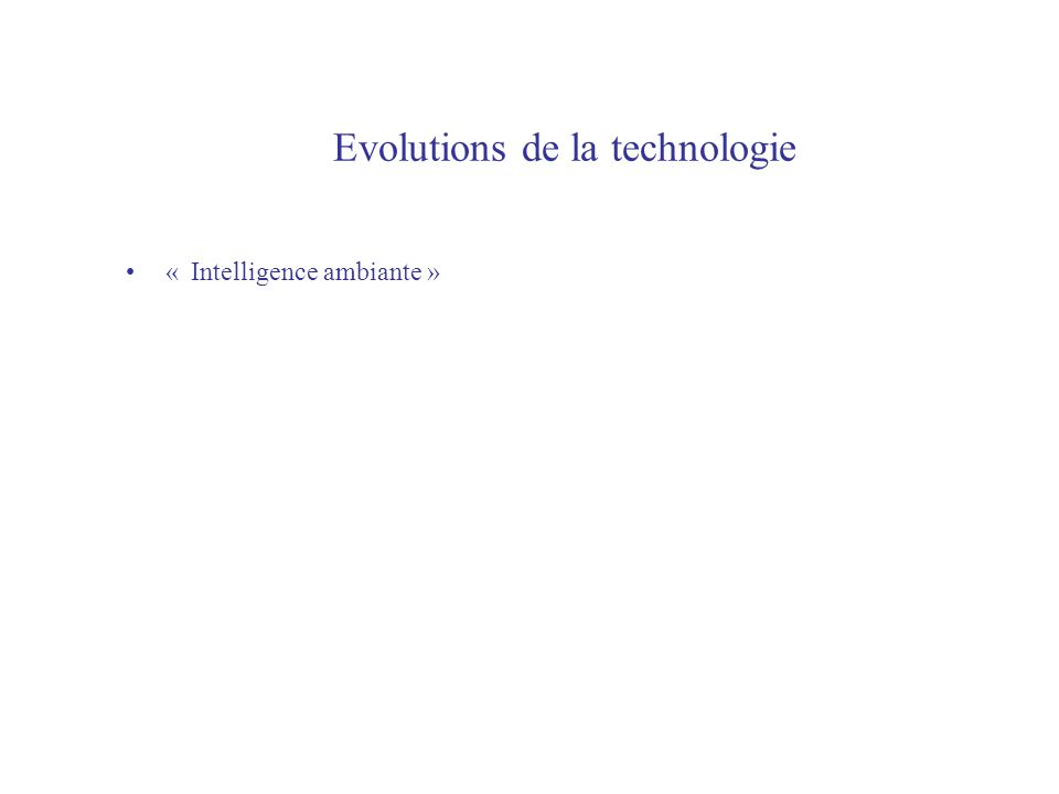 Evolutions de la technologie « Intelligence ambiante »