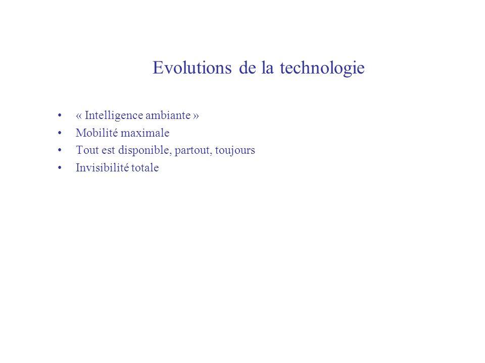 Evolutions de la technologie « Intelligence ambiante » Mobilité maximale Tout est disponible, partout, toujours Invisibilité totale