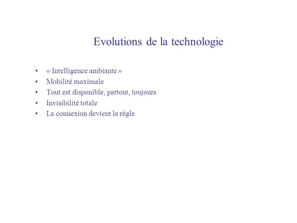 Evolutions de la technologie « Intelligence ambiante » Mobilité maximale Tout est disponible, partout, toujours Invisibilité totale La connexion devient la règle