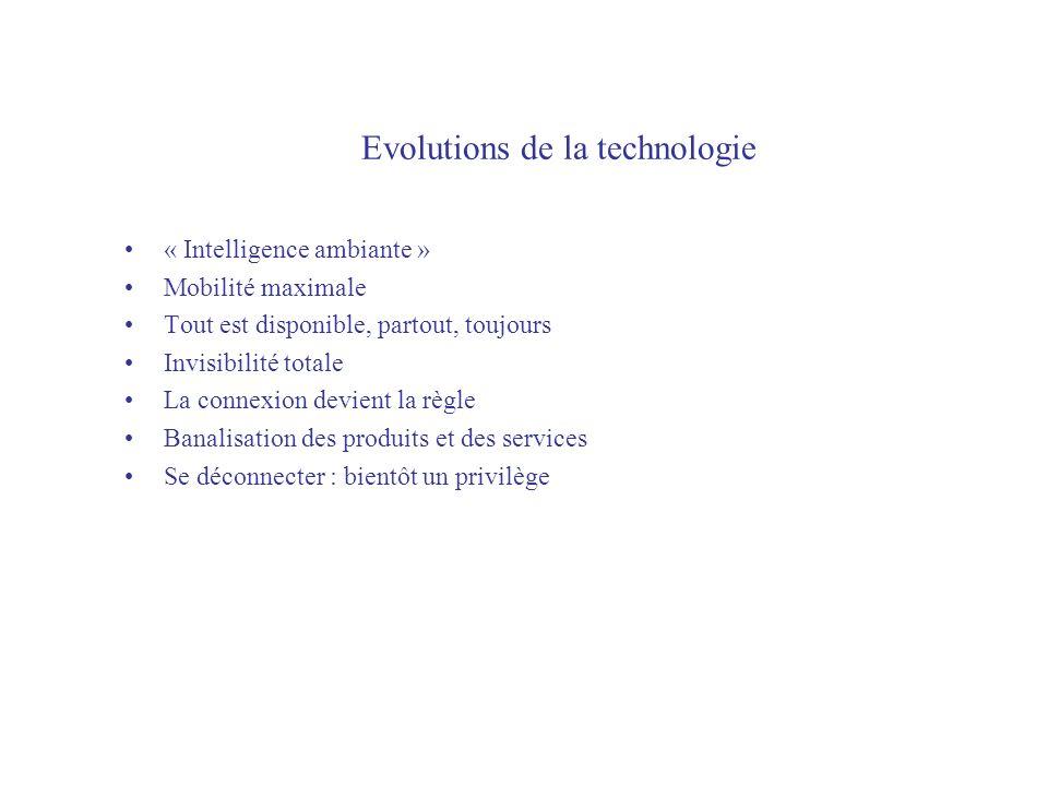 Evolutions de la technologie « Intelligence ambiante » Mobilité maximale Tout est disponible, partout, toujours Invisibilité totale La connexion devient la règle Banalisation des produits et des services Se déconnecter : bientôt un privilège