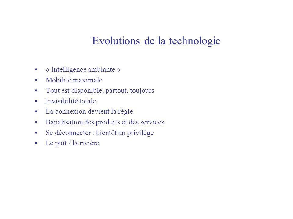 Evolutions de la technologie « Intelligence ambiante » Mobilité maximale Tout est disponible, partout, toujours Invisibilité totale La connexion devient la règle Banalisation des produits et des services Se déconnecter : bientôt un privilège Le puit / la rivière