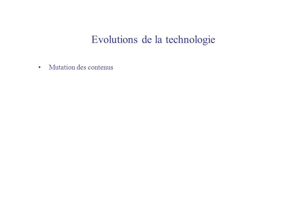 Evolutions de la technologie Mutation des contenus