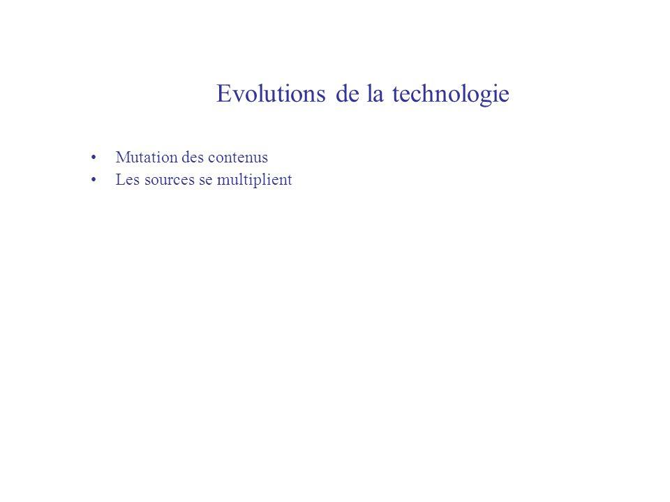 Evolutions de la technologie Mutation des contenus Les sources se multiplient
