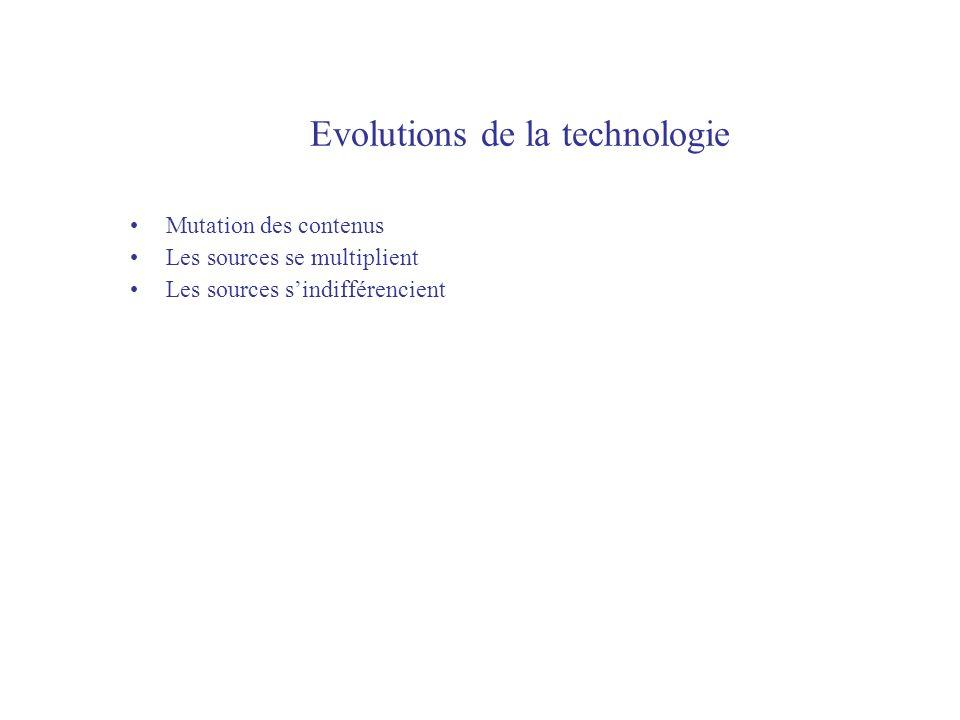 Evolutions de la technologie Mutation des contenus Les sources se multiplient Les sources sindifférencient