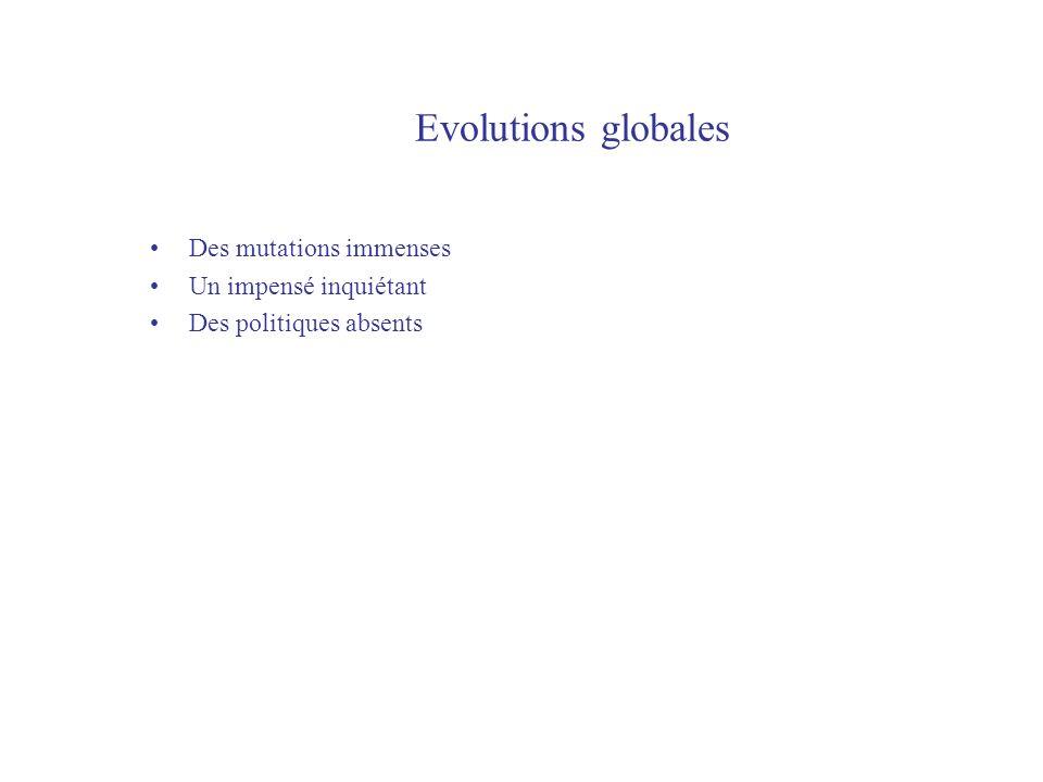 Evolutions globales Des mutations immenses Un impensé inquiétant Des politiques absents
