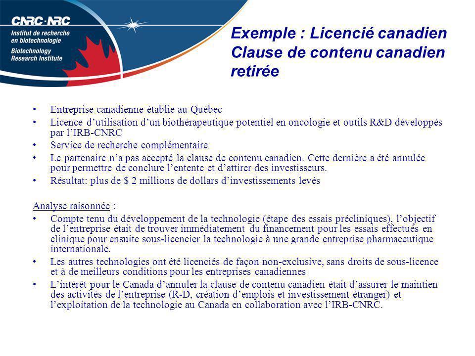 Exemple : Licencié canadien Clause de contenu canadien retirée Entreprise canadienne établie au Québec Licence dutilisation dun biothérapeutique potentiel en oncologie et outils R&D développés par lIRB-CNRC Service de recherche complémentaire Le partenaire na pas accepté la clause de contenu canadien.