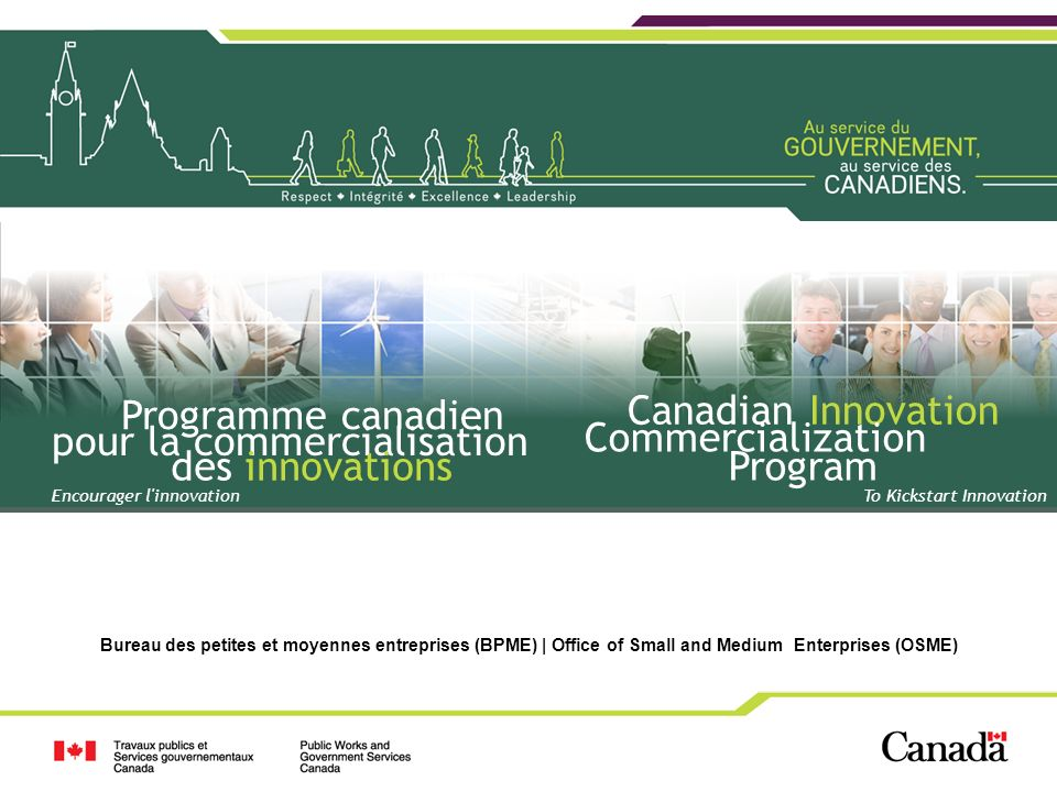1 1 Bureau des petites et moyennes entreprises (BPME) | Office of Small and Medium Enterprises (OSME) To Kickstart Innovation Canadian Innovation Comm
