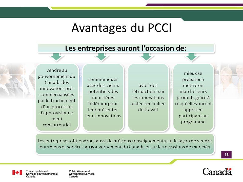 13 Avantages du PCCI vendre au gouvernement du Canada des innovations pré- commercialisées par le truchement dun processus dapprovisionne- ment concur