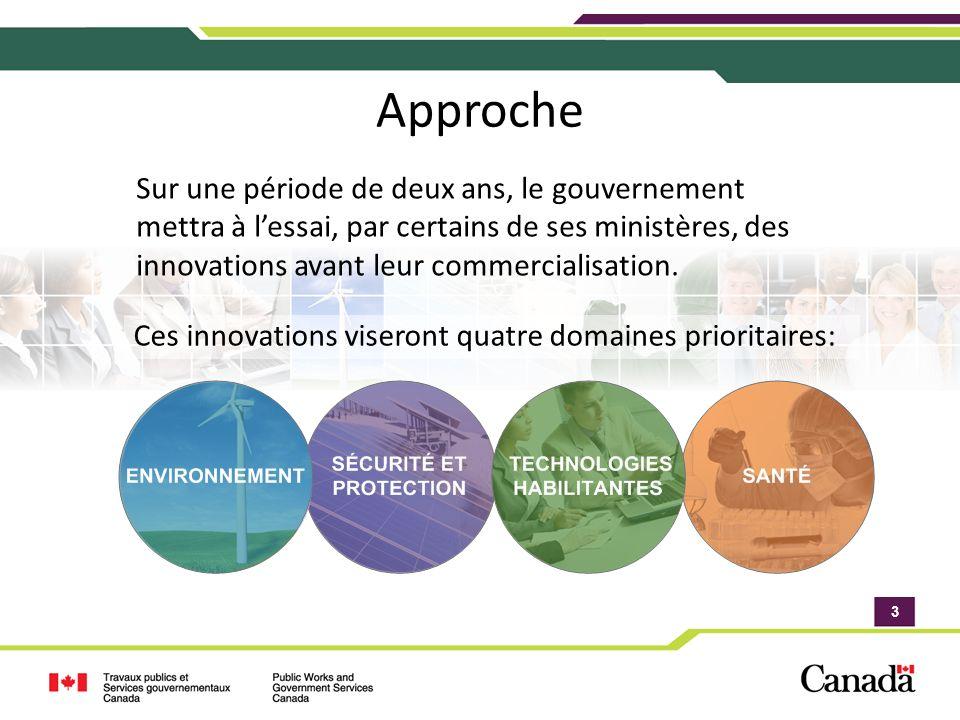 3 3 Approche Sur une période de deux ans, le gouvernement mettra à lessai, par certains de ses ministères, des innovations avant leur commercialisation.