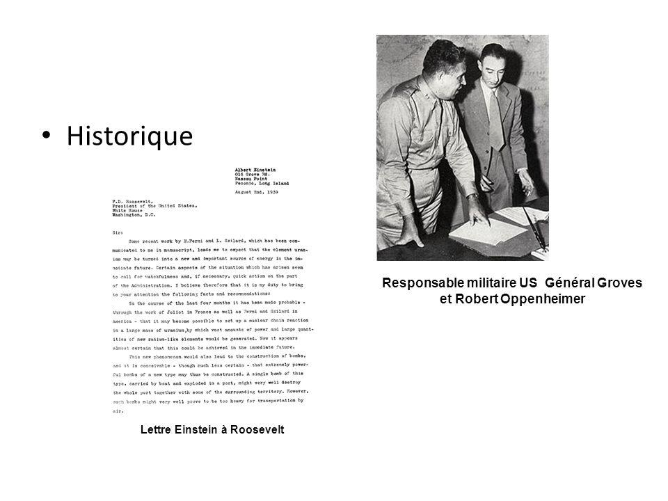 Historique Responsable militaire US Général Groves et Robert Oppenheimer Lettre Einstein à Roosevelt
