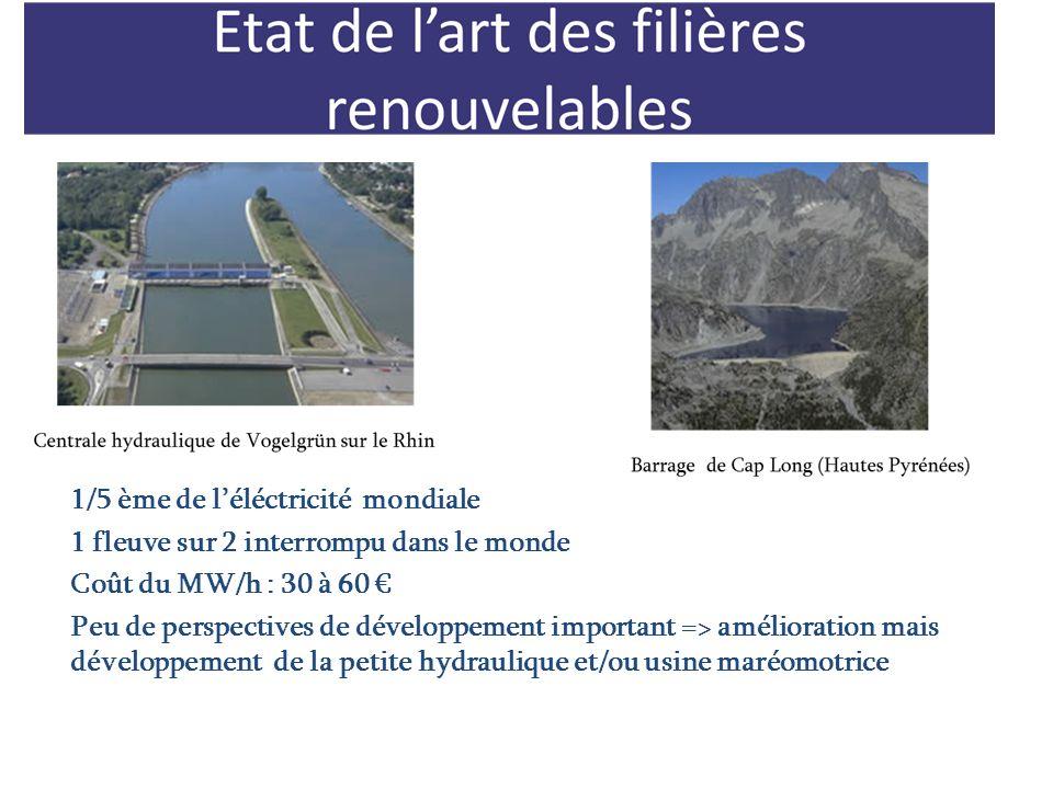1/5 ème de léléctricité mondiale 1 fleuve sur 2 interrompu dans le monde Coût du MW/h : 30 à 60 Peu de perspectives de développement important => amél