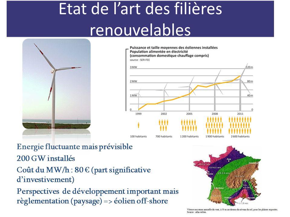 Energie fluctuante mais prévisible 200 GW installés Coût du MW/h : 80 (part significative dinvestivement) Perspectives de développement important mais