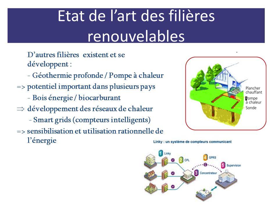 Dautres filières existent et se développent : - Géothermie profonde / Pompe à chaleur => potentiel important dans plusieurs pays - Bois énergie / bioc