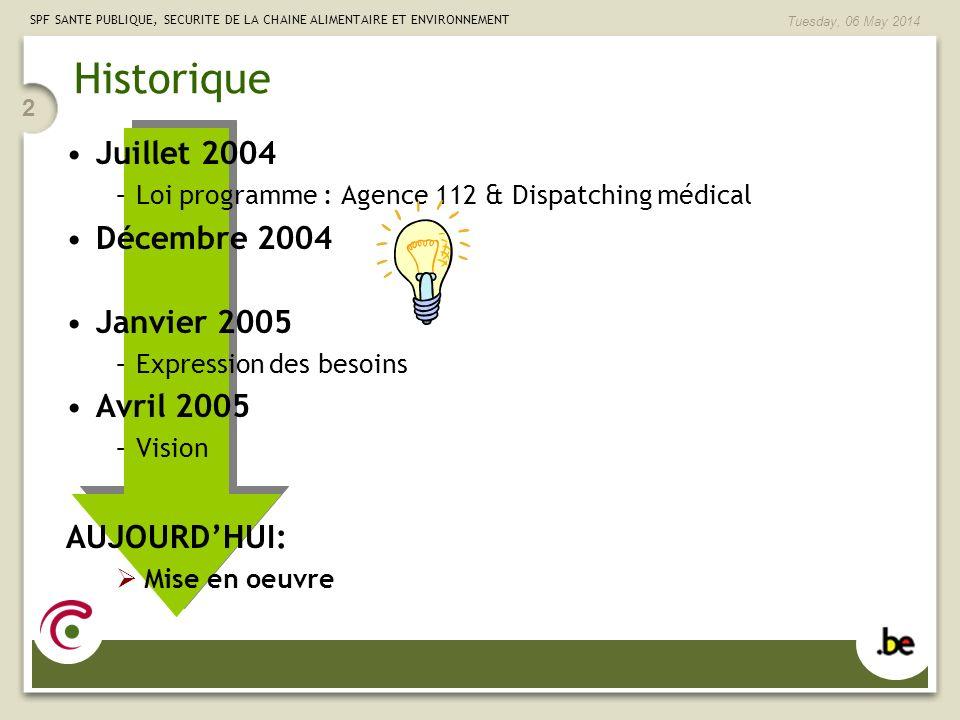 SPF SANTE PUBLIQUE, SECURITE DE LA CHAINE ALIMENTAIRE ET ENVIRONNEMENT Tuesday, 06 May 2014 2 Historique Juillet 2004 –Loi programme : Agence 112 & Di