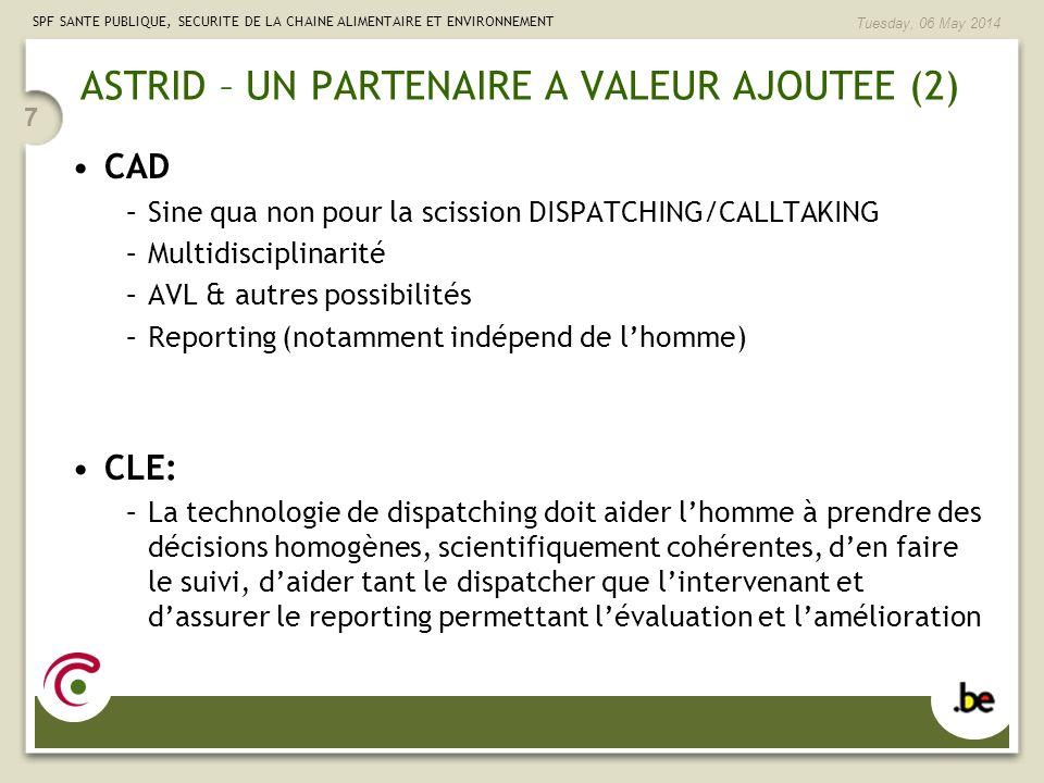SPF SANTE PUBLIQUE, SECURITE DE LA CHAINE ALIMENTAIRE ET ENVIRONNEMENT Tuesday, 06 May 2014 7 ASTRID – UN PARTENAIRE A VALEUR AJOUTEE (2) CAD –Sine qu