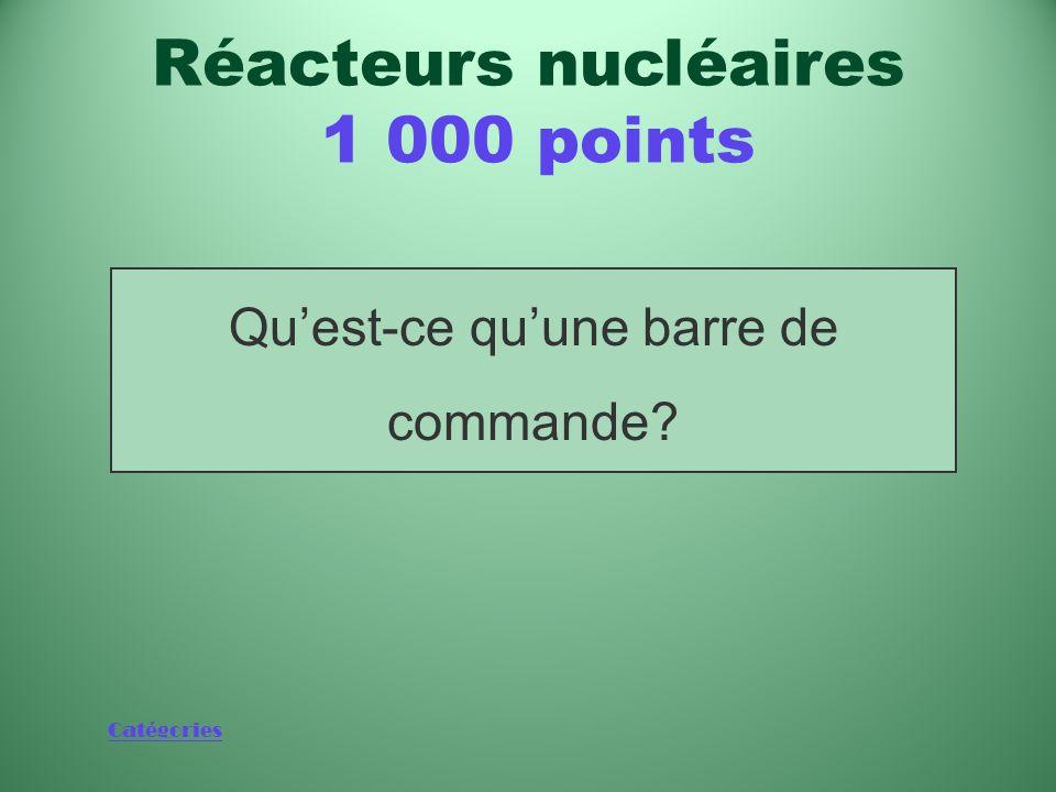 Catégories Tige que lon peut insérer dans un réacteur pour arrêter la réaction en chaîne ou contrôler le niveau dénergie en fonctionnement normal Réac