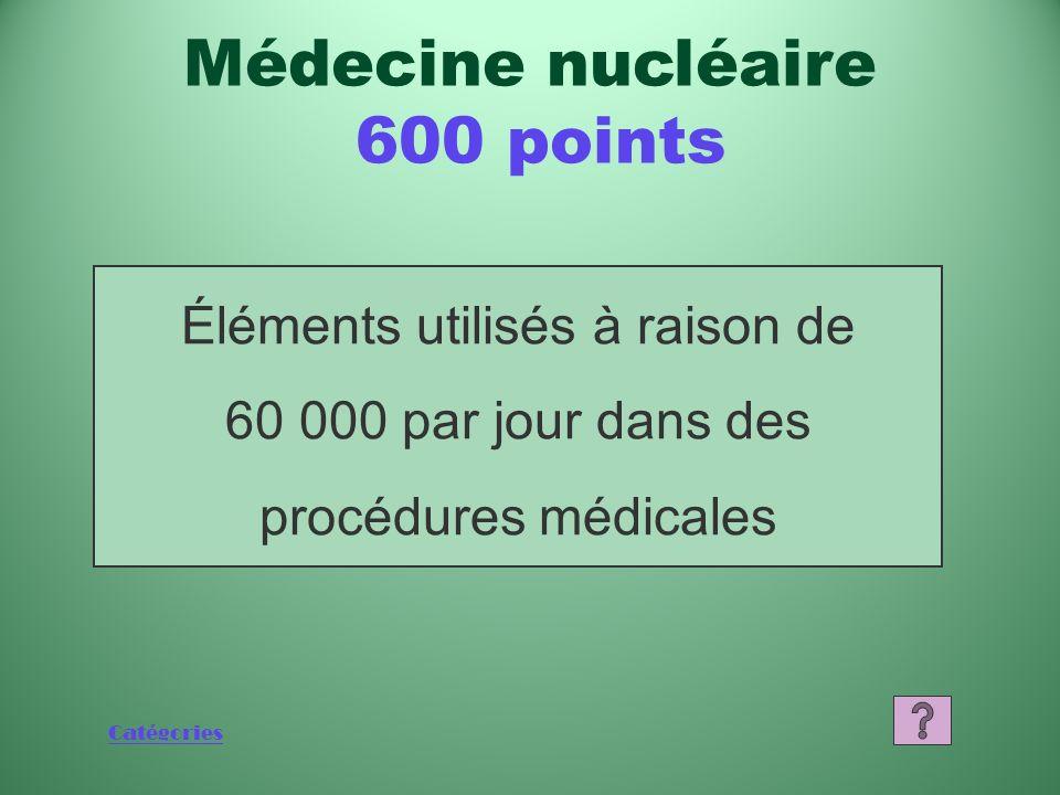 Catégories Que sont les fournitures médicales à usage unique? Médecine nucléaire 400 points