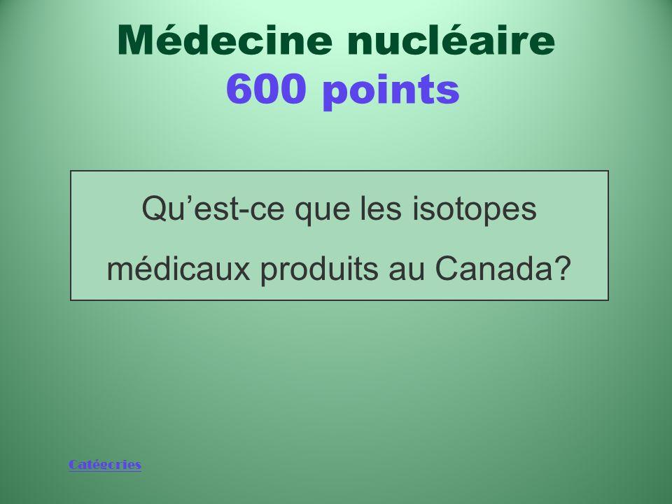 Catégories Éléments utilisés à raison de 60 000 par jour dans des procédures médicales Médecine nucléaire 600 points