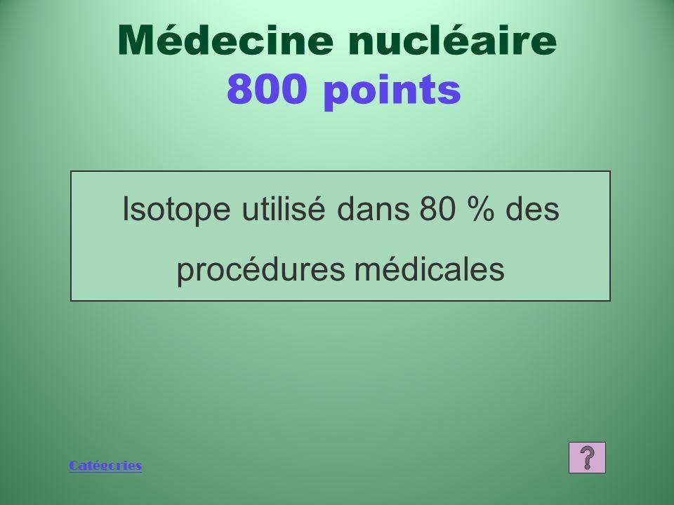 Catégories Quest-ce que les isotopes médicaux produits au Canada? Médecine nucléaire 600 points