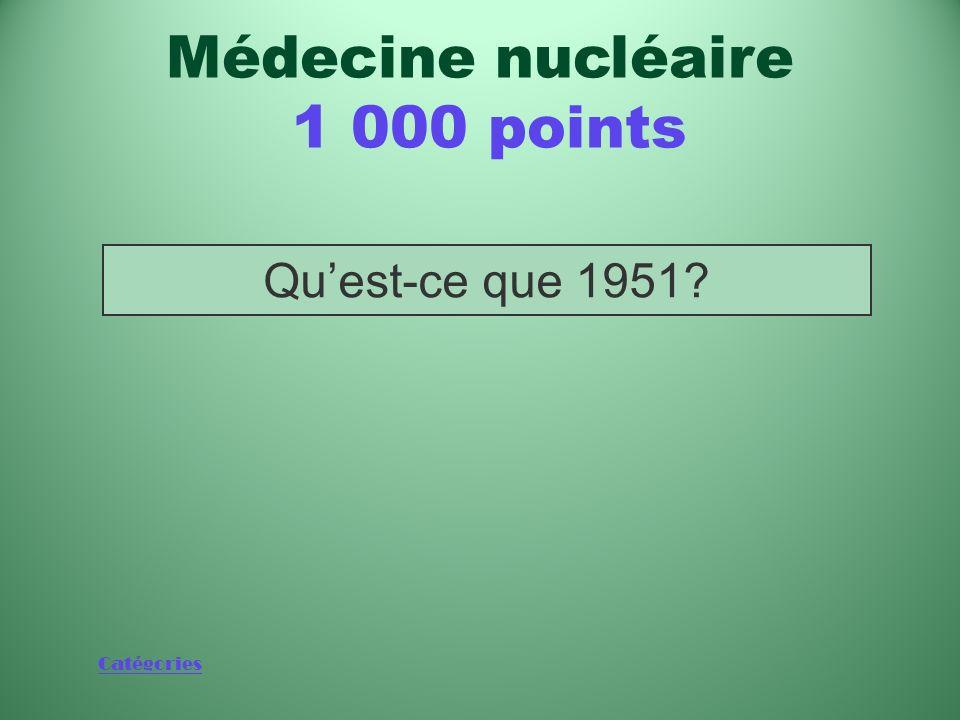 Catégories Année de construction des deux premiers appareils de radiothérapie au cobalt au Canada Médecine nucléaire 1 000 points