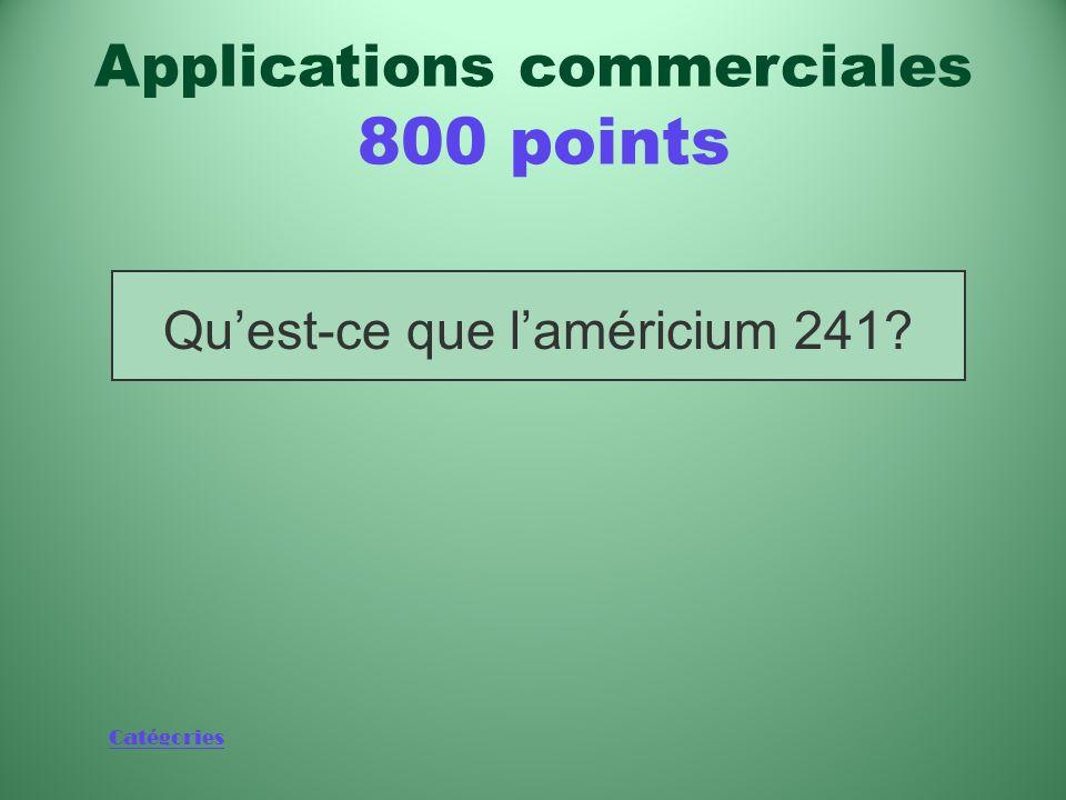 Catégories Métal radioactif généralement utilisé dans les détecteurs de fumée Applications commerciales 800 points