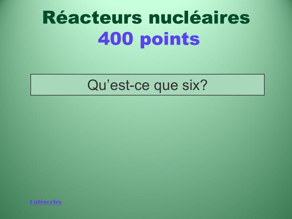 Catégories Nombre de semaines pendant lesquelles une seule pastille de combustible peut alimenter une maison de taille moyenne Réacteurs nucléaires 40