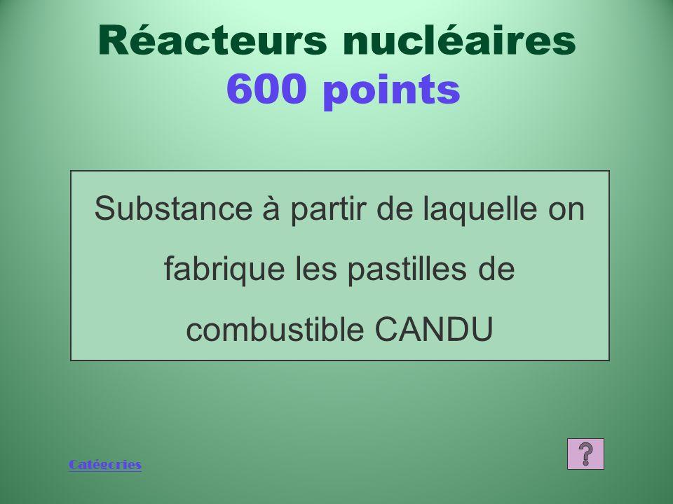 Catégories Quest-ce que six? Réacteurs nucléaires 400 points