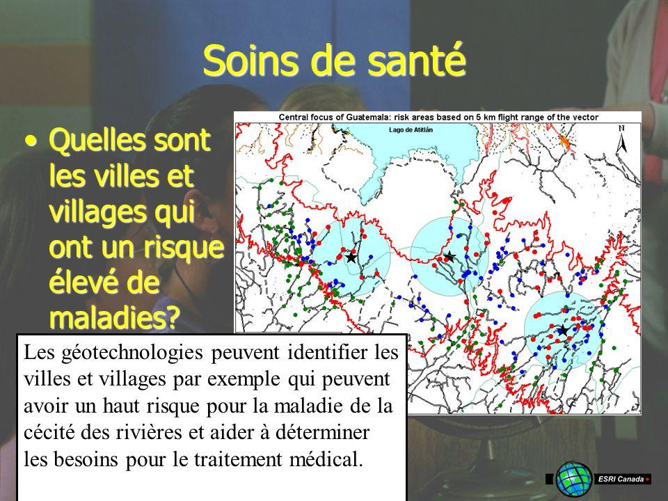 Soins de santé Quelles sont les villes et villages qui ont un risque élevé de maladies Quelles sont les villes et villages qui ont un risque élevé de maladies.
