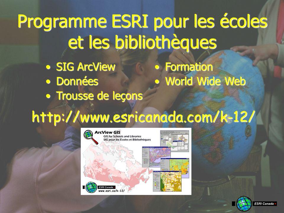 Programme ESRI pour les écoles et les bibliothèques SIG ArcViewSIG ArcView DonnéesDonnées Trousse de leçonsTrousse de leçons FormationFormation World Wide WebWorld Wide Webhttp://www.esricanada.com/k-12/