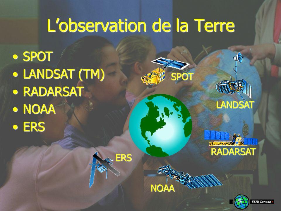 Lobservation de la Terre LANDSAT LANDSAT (TM)LANDSAT (TM) RADARSAT RADARSATRADARSAT NOAA NOAANOAA ERS ERSERS SPOT SPOTSPOT